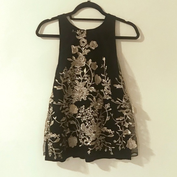 Anthropologie Tops - Gold/black embroidered sleeveless top